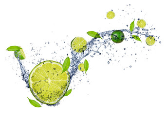 Deurstickers Opspattend water Fresh limes in water splash, isolated on white background