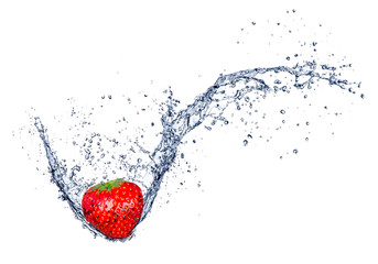 Fresh strawberry in water splash, isolated on white background