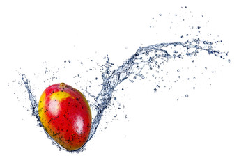 Printed roller blinds Splashing water Mango in water splash, isolated on white background