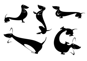 Vector silhouettes of the dachshund