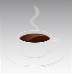 Konturentasse mit Kaffee und Aromafahne