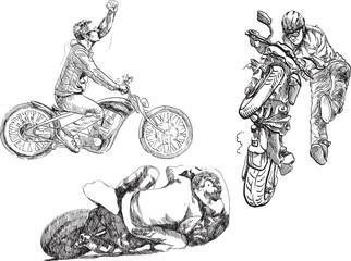 Bikers. /// Hand drawings converted into vector.