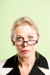 serious woman portrait real people high definition green backgro