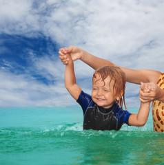 Kid swimming exercises