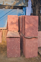 red stone slabs in Agra  street, India