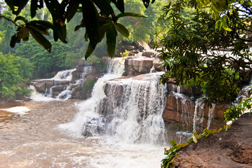 Khbail Chai waterfall after rain season, Cambodia