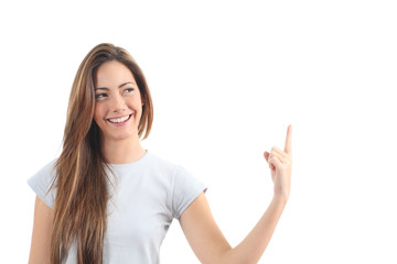 Beautiful woman pointing a blank text