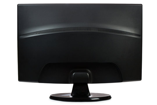 back TFT widescreen monitor isolated a white