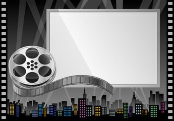 Film Reel and Theater Screen  Billboard