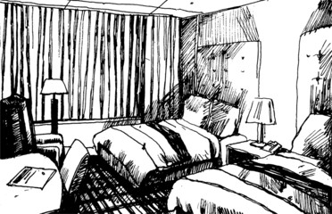Sleeping Room Hand Drawn