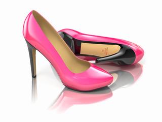 Pink high heels shoe. 3d