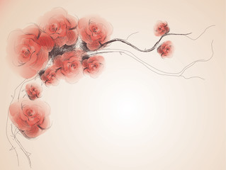 Tuinposter Abstract bloemen Wild dog rose / Floral vintage background