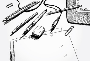 Hand Drawn Illustration of Work Space