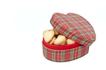 Valentine's Day box full of cookies on white background