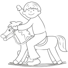child and horse - coloring book