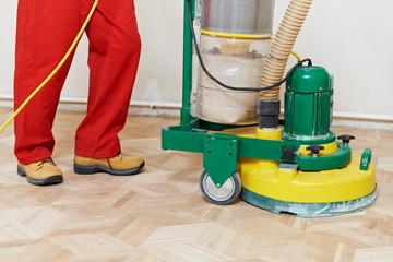 Obraz Parquet Floor maintenance by grinding machine - fototapety do salonu