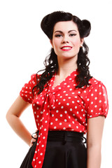 woman pin-up make-up hairstyle posing in studio