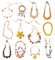collection of gold necklaces