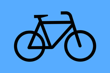 Blue sign with painted bicycle