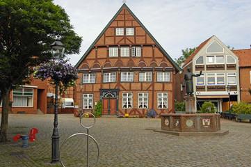 Marktplatz  mit Färberhaus in Lütjemburg
