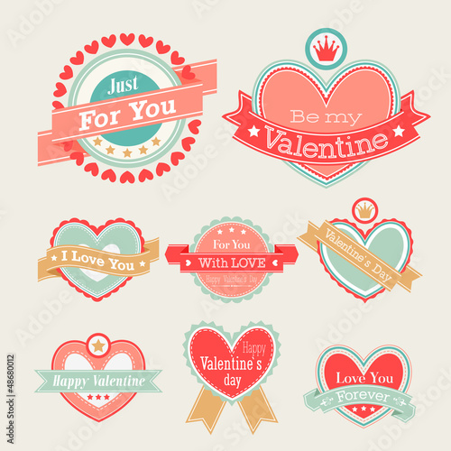 Wall mural Valentine`s Day set - labels and emblems. Vector illustration.