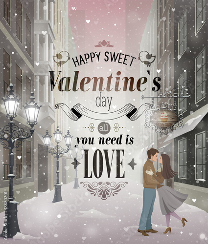 Wall mural Valentine`s Day greeting card - snowy romantic street.