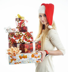 girl with a Christmas presents