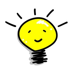 Cartoon of A Smiling Light Bulb Icon