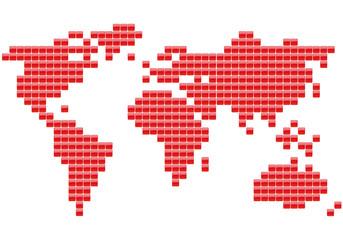Planisphère Carrés rouges
