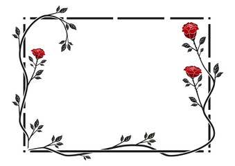 Rahmen mit roten Rosen