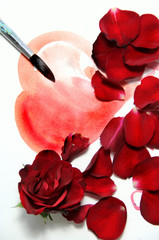 Painted Valentine heart and beautiful rose