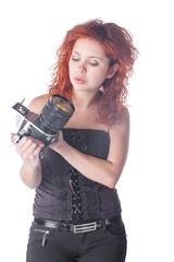 beautiful female with camera