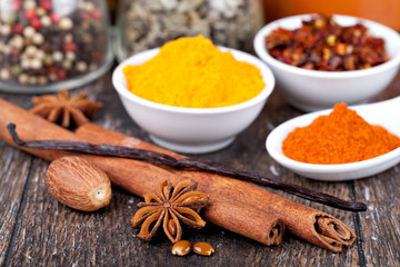 Spice collection isolated on a wooden table