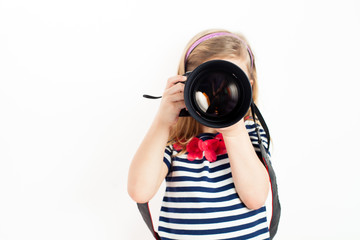 Girl holding Camera and taking photo