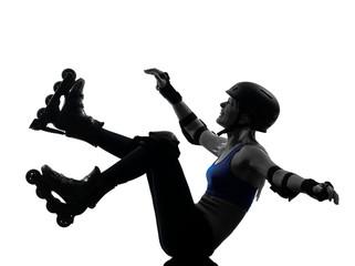 woman in roller skates falling silhouette