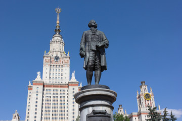 The Statue of Lomonosov in front of Moscow State University
