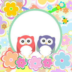 funny colored cute owl with flowers. baby boy invitation card