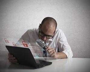 Hacker analyzing software