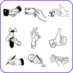 Hand gestures - business set. Vector illustration.