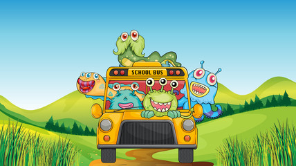 Smiling monsters and school bus