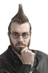 closeup portrait of stylish man isolated on white background