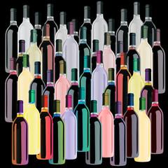 Colored Wine Bottles Set