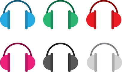 Isolated headphones in various colors