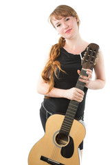 woman with long braid and guitar on white background