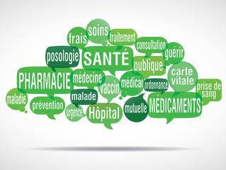 nuage de mots bulles : santé pharmacie