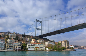 Fatih Sultan Mehmet Bridge over a neighborhood, Istanbul, Turkey