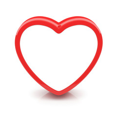 Isolated glossy heart with no filling on white background