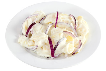 potato salad with mayonnaise on the plate on white background