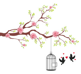Deurstickers Vogels in kooien Bird of freeing from the cage to it's lover