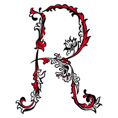 Initial letter R on a white background